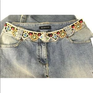 INC  8 Jeans Beaded Waist Embellished